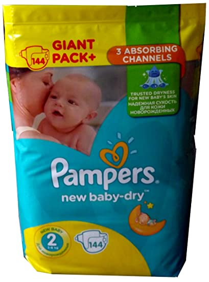 144 PAMPERS Pañales New Baby de Dry Talla 2, ...
