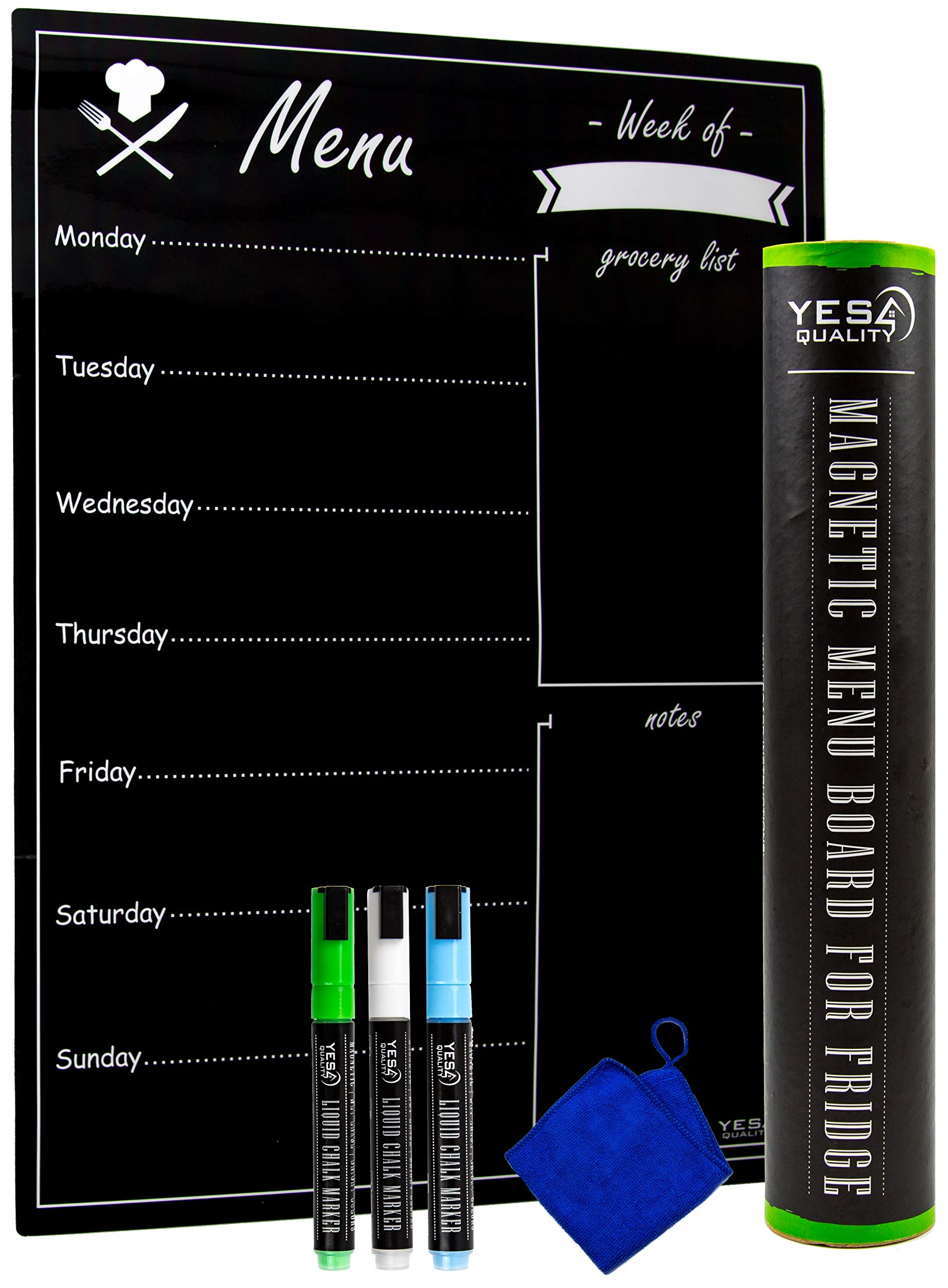 Magnetic Menu Board for Fridge with Easy-Erase Technology - Includes 3 Neon Chalk Markers and Eraser - Meal Planner Dry Erase Chalkboard by YES4QUALITY