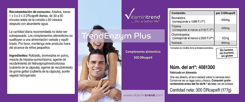 Trend Enzyme Plus – complejo enzimático con bromelaína– tripsina– quimotripsina y rutósido – 300 cápsulas – enzimas digestivas
