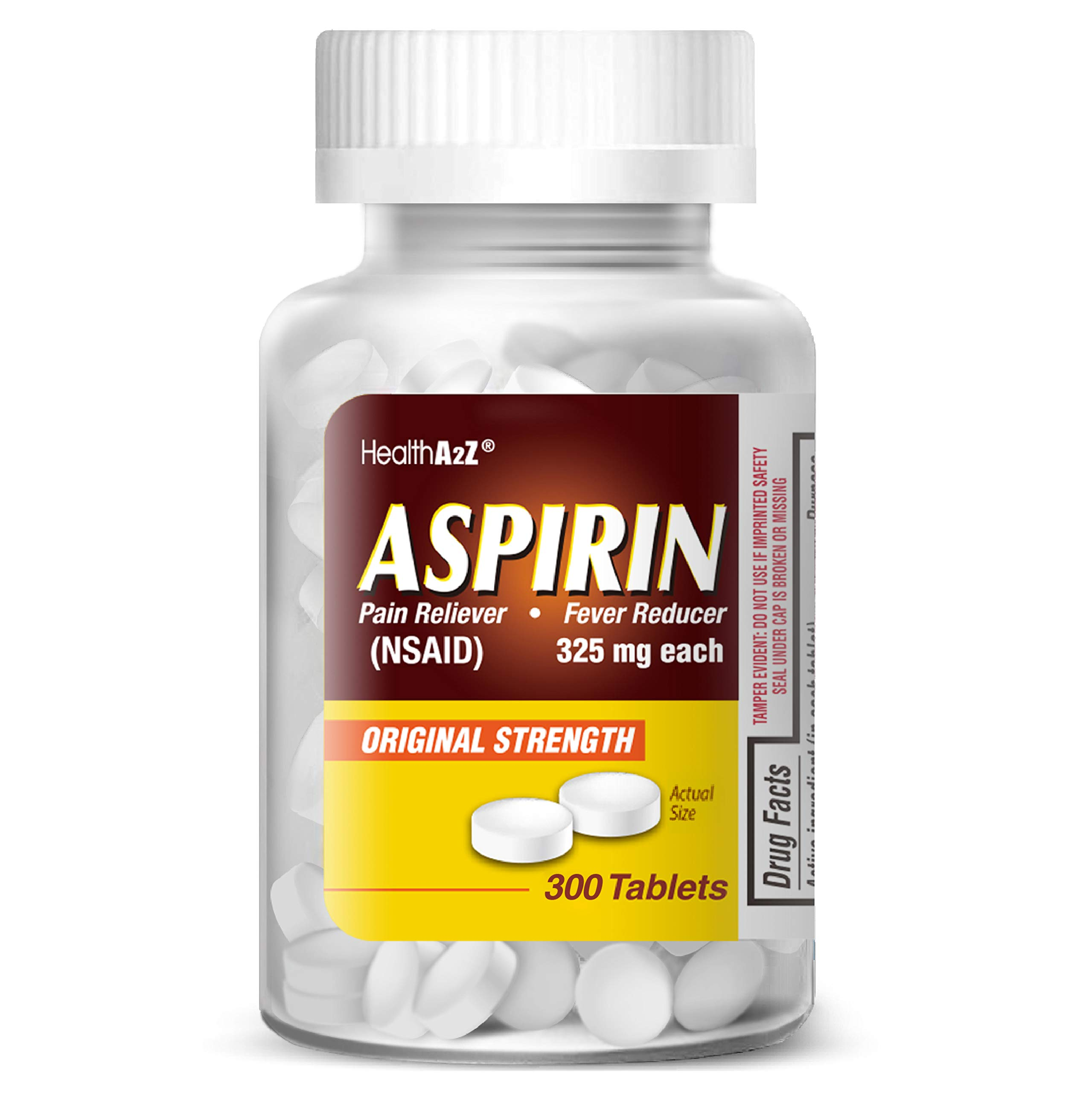 HealthA2Z Aspirin 325mg, 300 Count, Uncoated,Compare to Bayer® Active Ingredients