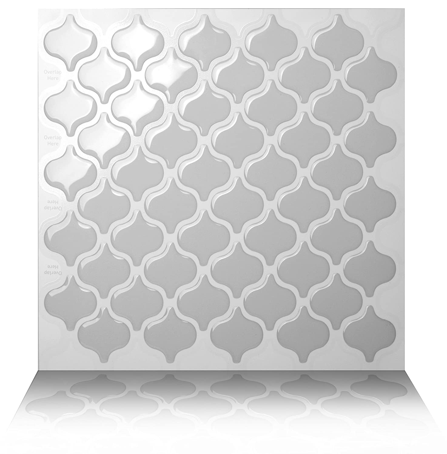 Tic Tac Tiles® - Premium Anti-mold Peel and Stick Wall Tiles in Damask Grigio (5)