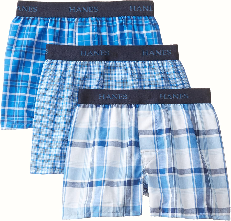 Hanes boys Big Boys 3 Pack Ultimate Yarn Dyed Boxer Hanes Boys 8-20 Underwear BU835C