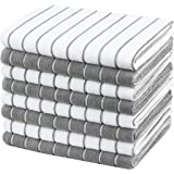 Gryeer Microfiber Kitchen Towels, Stripe Designed, Soft and Super Absorbent Dish Towels, Pack of 8, 18 x 26 Inch, Gray…