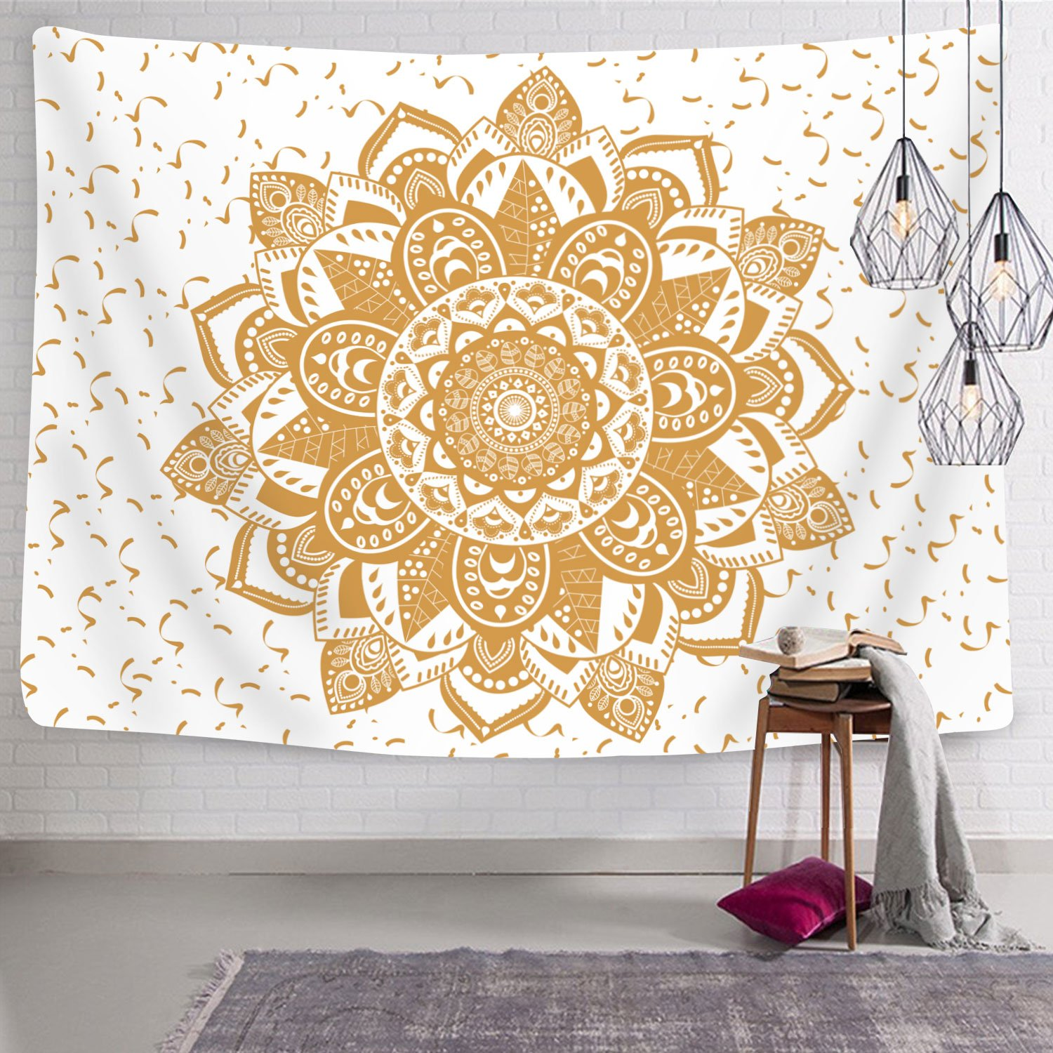 Amazon.com: Tapestry Wall Tapestry Gold and White Ombre Indian ...