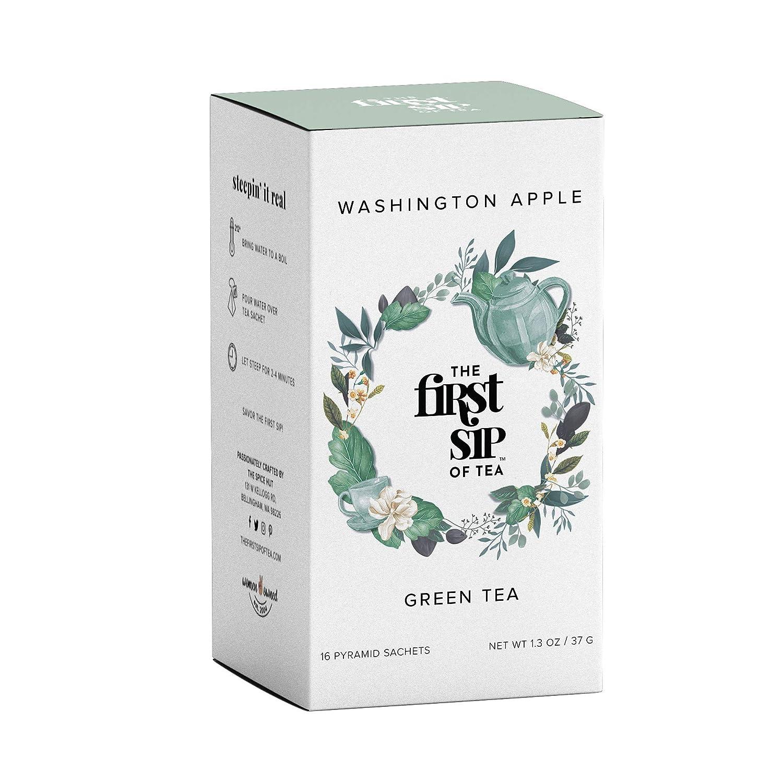 The Spice Hut The First Sip Of Tea Washington Apple Green Tea, 16Count Tea Box