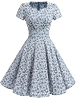 Dresstells® Vintage 1950s Solid Color Prom Dresses Short Sleeve Retro Swing Dress