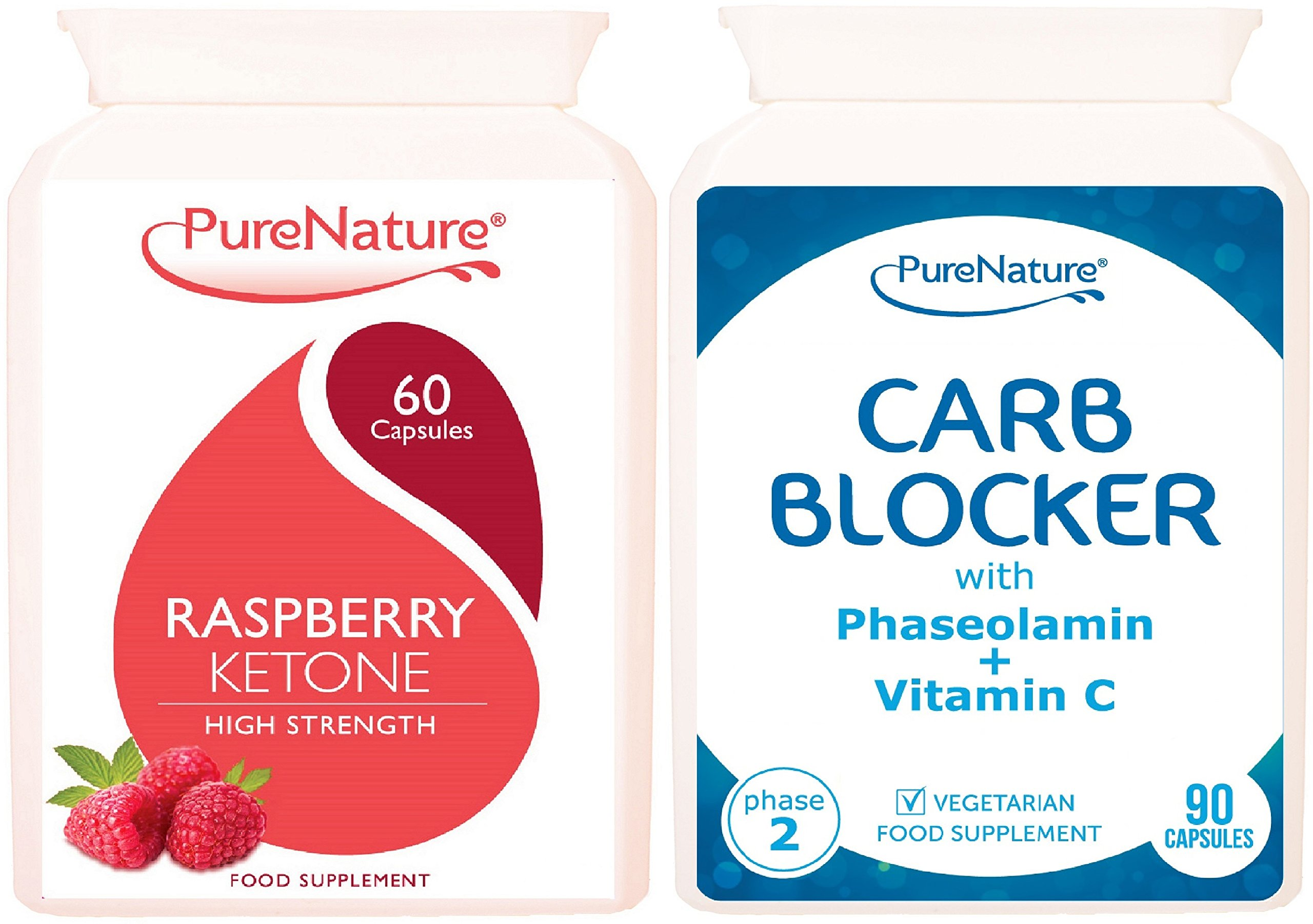 Raspberry Ketone 100% Highly Concentrated 12000mg Daily Serving UK's MAXIMUM Strength Plus Carb Blocker with White Kidney Bean Extract & Phaseolamin Phase 2 High Strength Carb Controller & Starch Bloc