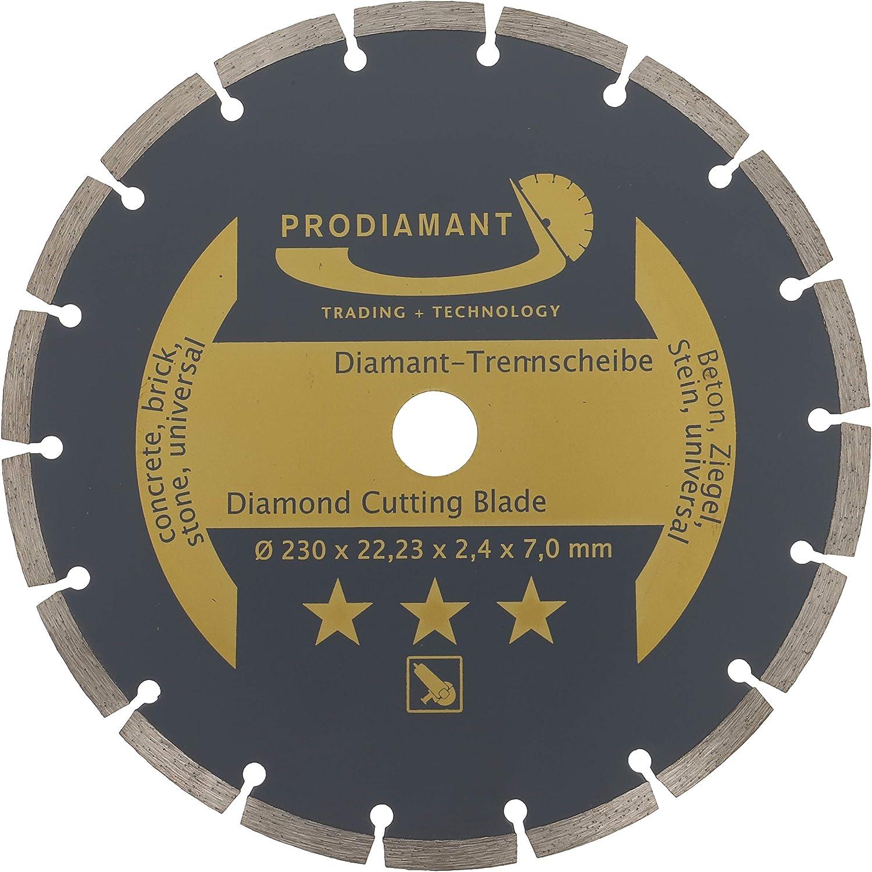 PRODIAMANT - Disco de corte de diamante (230 x 22,2 mm, para hormigón, piedra, ladrillo, universal, 230 mm, 7 mm)