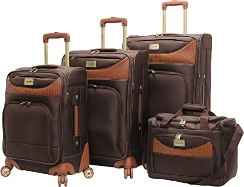 Caribbean Joe Castaway 4-Piece Spinner Luggage Set Chocolate