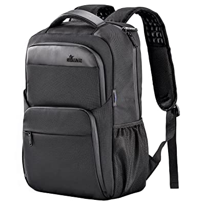 high-quality Laptop Backpack, BSISME Business Computer Bags with USB/Headphones Hole, Water Resistant College School Bookbag for Men Women Travel Backpack, Fits 15.6-Inch Laptop and Notebook (Black)