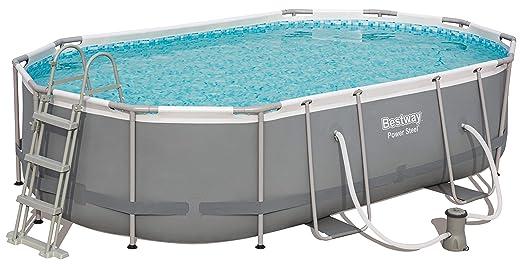 Bestway Power Steel Frame Pool oval mit stabilem Stahlrahmen im praktischen XL-Komplett-Set, 488x305x107 cm