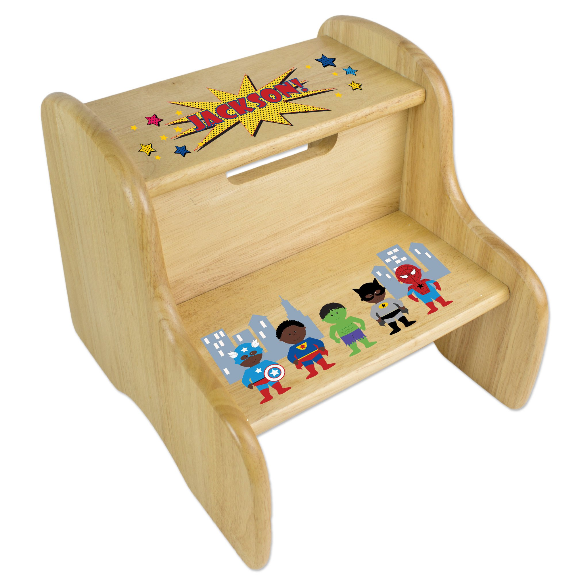 Personalized Natural Two Step Stool with African American Super Hero Design