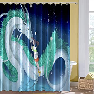 Dragon and Cute Girl Fabric Shower Curtain Set with Hooks for Boys Girls Bathroom Decor, 72 x 72 inches