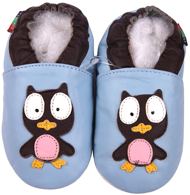 Carozoo Owl Light Blue S Unisex Baby Soft Sole Leather Shoes