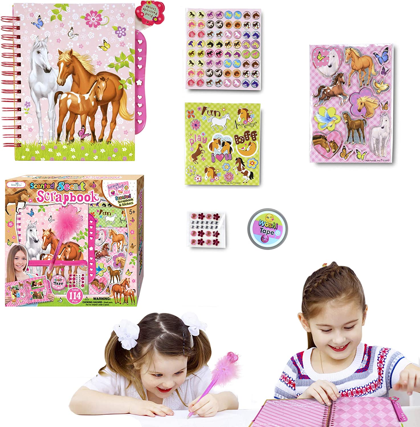 Jewels Hot Focus Scented Secret Scrapbook for Arts and Crafts Project Set//Kit Scented 3D Stickers Includes a 60 Page Album with Passcode Lock Great for Kids//Girls//Tween.