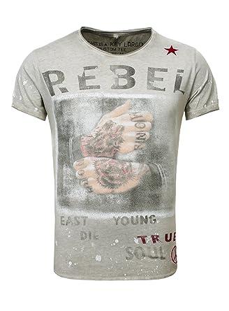 Key Largo Herren T-Shirt Rebellion Slim Fit Vintage Print Stern Hände Faust  Tattoo Farbklecks  Amazon.de  Bekleidung af474f7d28