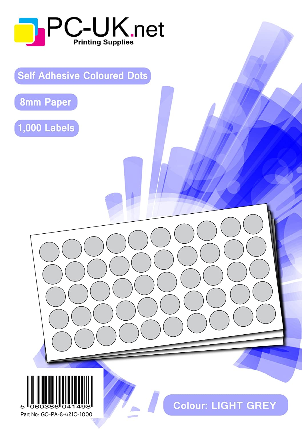 Light Grey 1000 Coloured Dots 8mm Self Adhesive Spots Round Colour Labels Sticky Dot Paper
