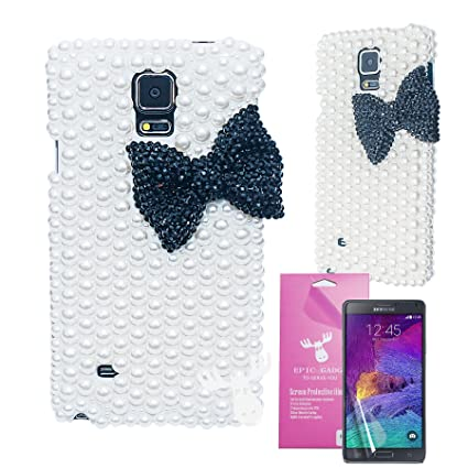 brand new bbfbe 1ccfc Samsung Galaxy Note 4 Case, EpicGadget(TM) 3D Handmade Luxury Bow Bowknot  Design Pearl Hard Case Cover for Samsung Galaxy Note 4 SM-N910S SM-N910C ...