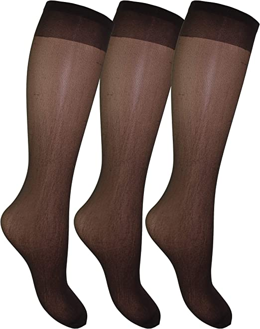2 Pair Silky Knee Highs Smooth Knit Deep Comfort Top Pop Socks Trouser
