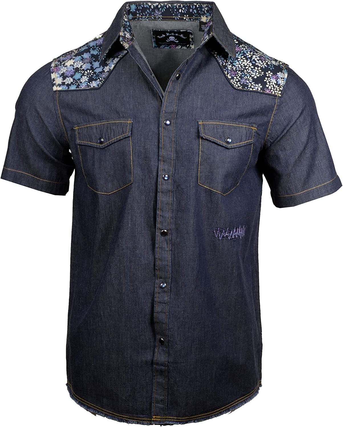 Rock Roll n Soul Mens Black Dog Short Sleeve Button Down Indigo Western Shirt 731SSIN