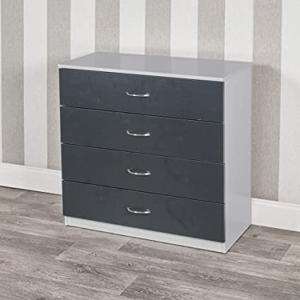 Urbnliving 4 Or 5 Drawer Wooden Bedroom Chest Cabinet 4 Drawers Grey Carcass Black Drawers Amazon Co Uk Kitchen Home