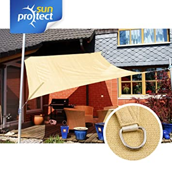 sunprotect 83263 Professional Toldo / Vela de Sombra, 3.6 x 3.6 m, cuadrado, beige: Amazon.es: Jardín