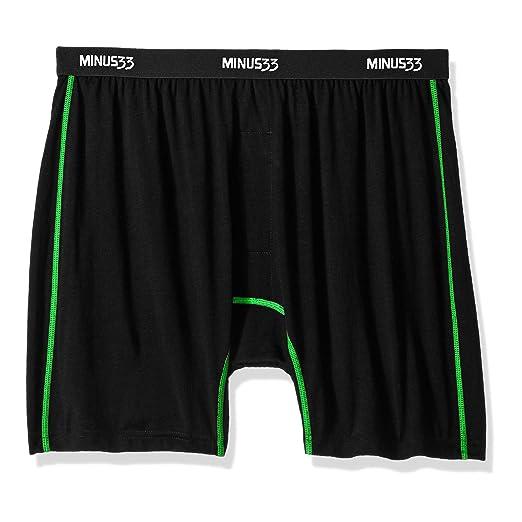 625b0882ef44b5 Minus33 Merino Wool Clothing Men's Zion Lightweight Wool Boxer Shorts,  Black/Zephyr Green,
