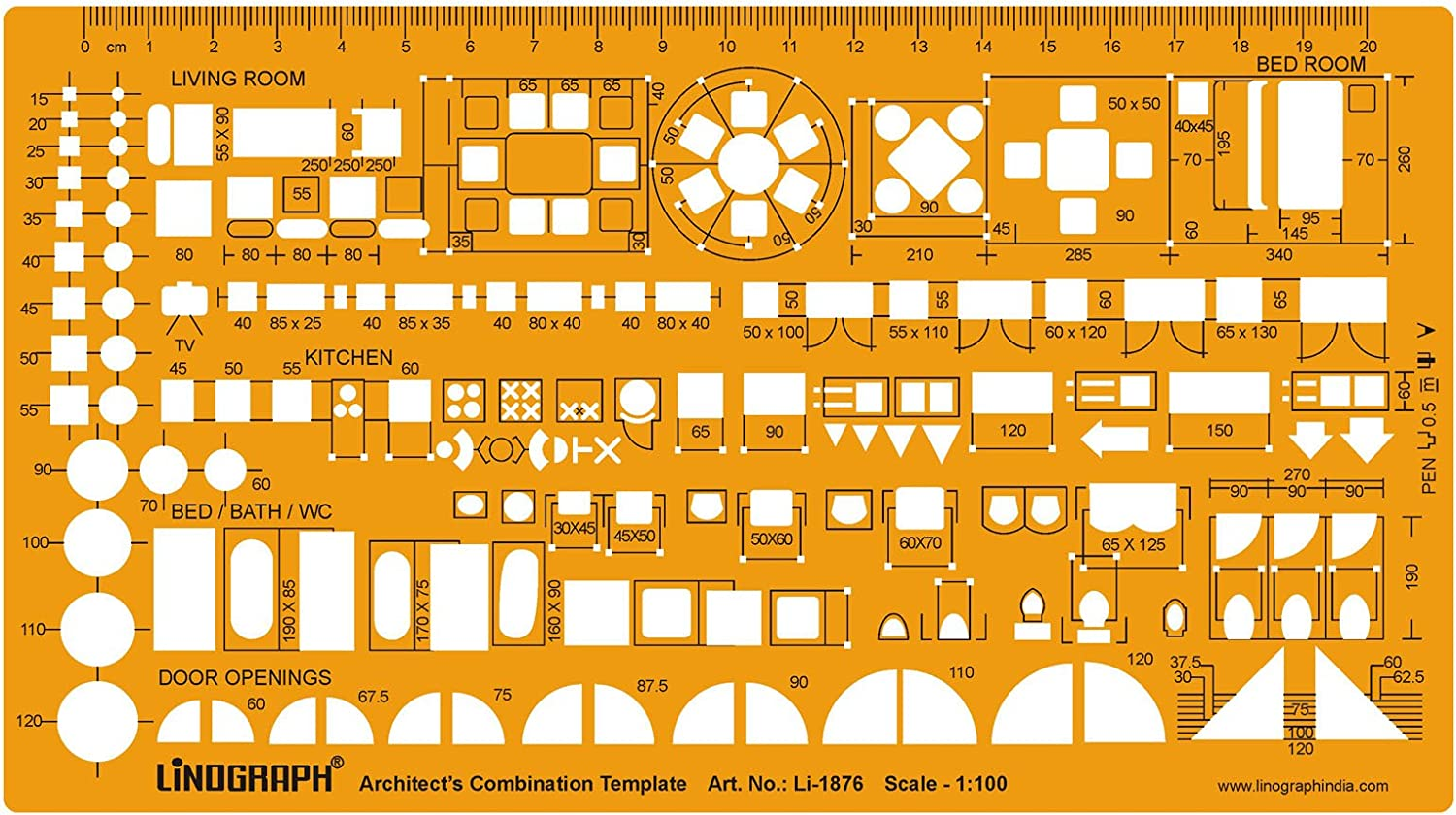 Metric 1:100 Scale Architect Design Drawing Template Stencil- Furniture Layout Symbols for House Interior Planning