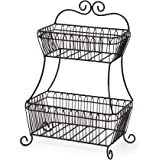 Gourmet Basics by Mikasa Countryside 2-Tier Flat-Back Metal Basket, Antique Black