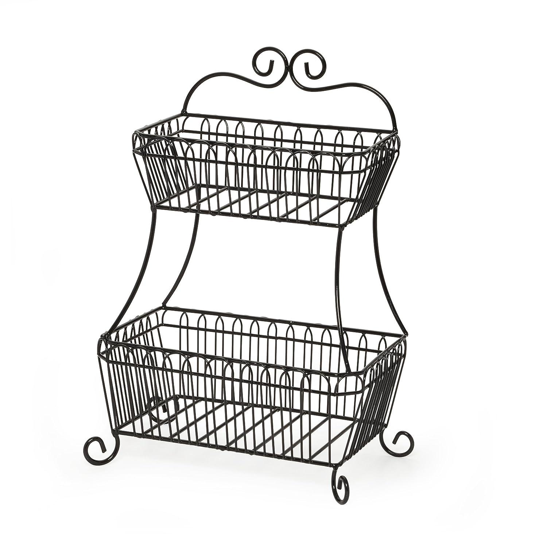 Gourmet Basics by Mikasa Countryside 2-Tier Flat-Back Metal Basket, Antique Black 5147845