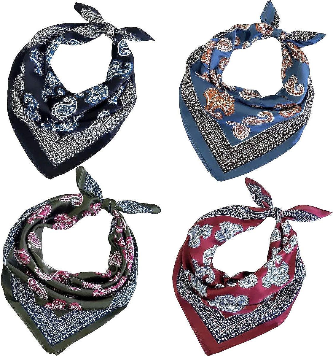 FYLuoke Silk Feeling Satin HeadScarf Neck Hair Scarf Bandana for Women 4-Packs