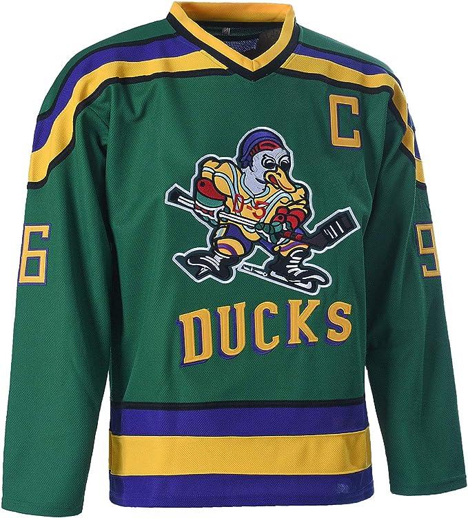 NBJBK Hockey-Trikot Herren-Sweatshirts Atmungsaktives Langarm-T-Shirt Charlie Conway # 96 Mighty Ducks Eishockey-Trikot