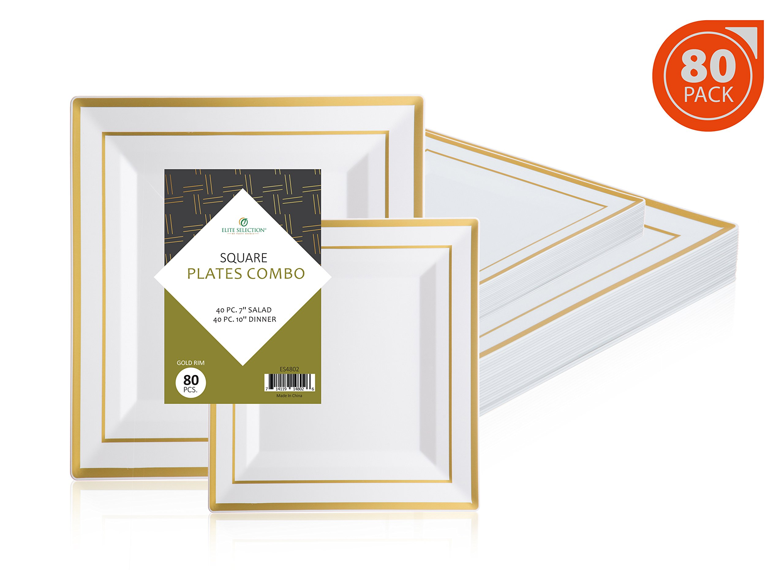 ''Elite Selection'' Square Plates Set Of 80 White Party Plastic Plates With Gold Rim Includes 40 Dinner Plates 10 Inch And 40 Salad/Dessert Plates 7 Inch