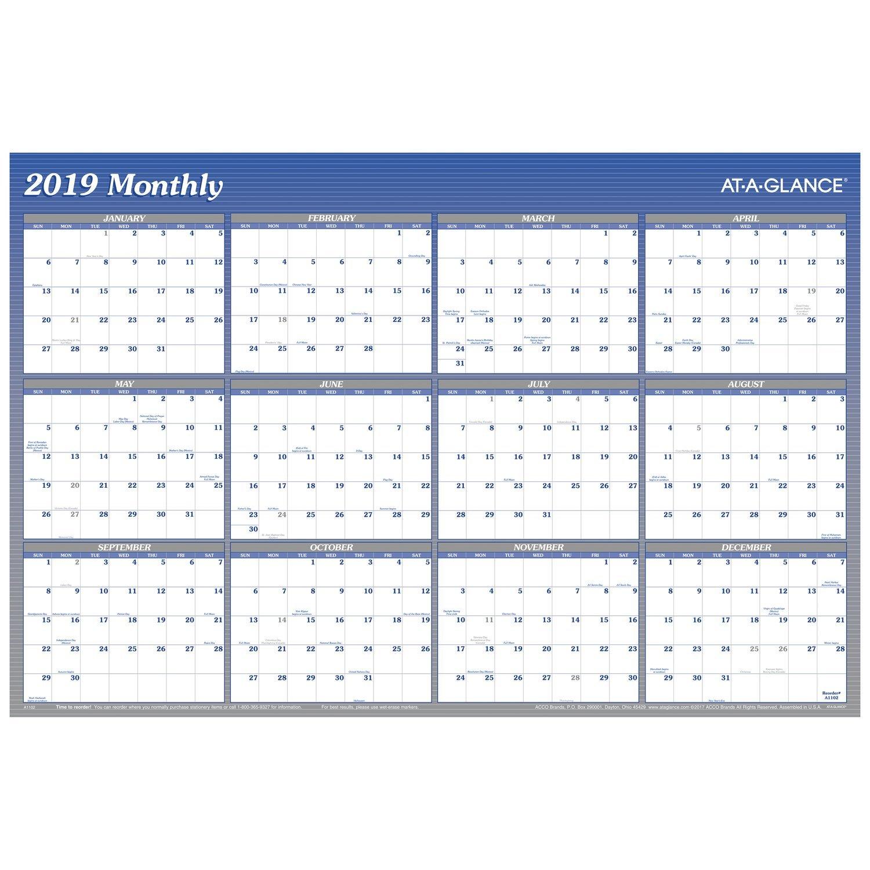 AT-A-GLANCE Planificador de pared anual, enero 2019 – diciembre 2019, 2019, diciembre 36 x 24 pulgadas, vertical, horizontal, borrable, reversible, azul (A1102) dd8d50
