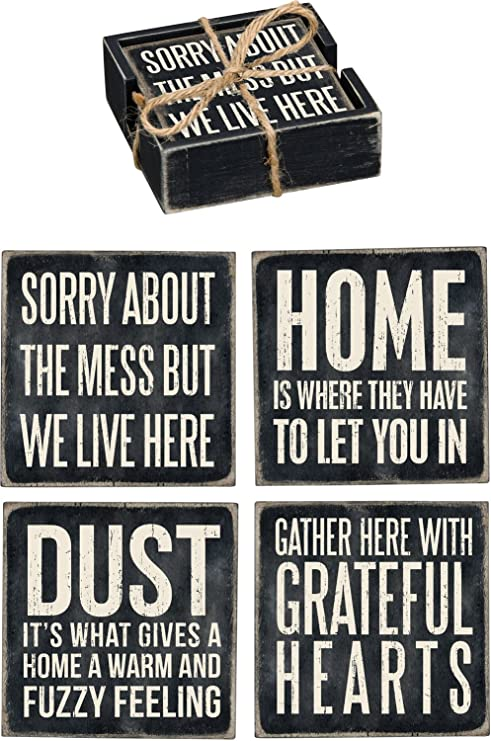 Primitives By Kathy Home Wood Coaster Set Of 4 Home Kitchen