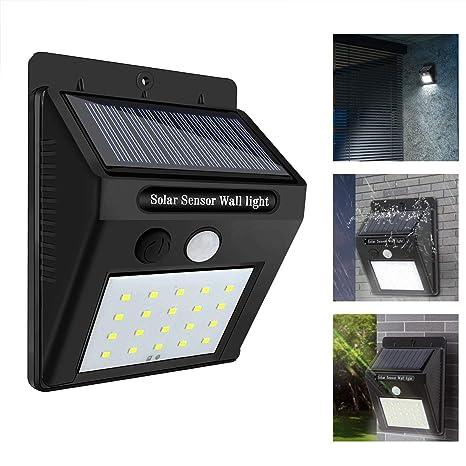 KOBWA Luces de seguridad con sensor de movimiento, gran angular, 20 LED, energía