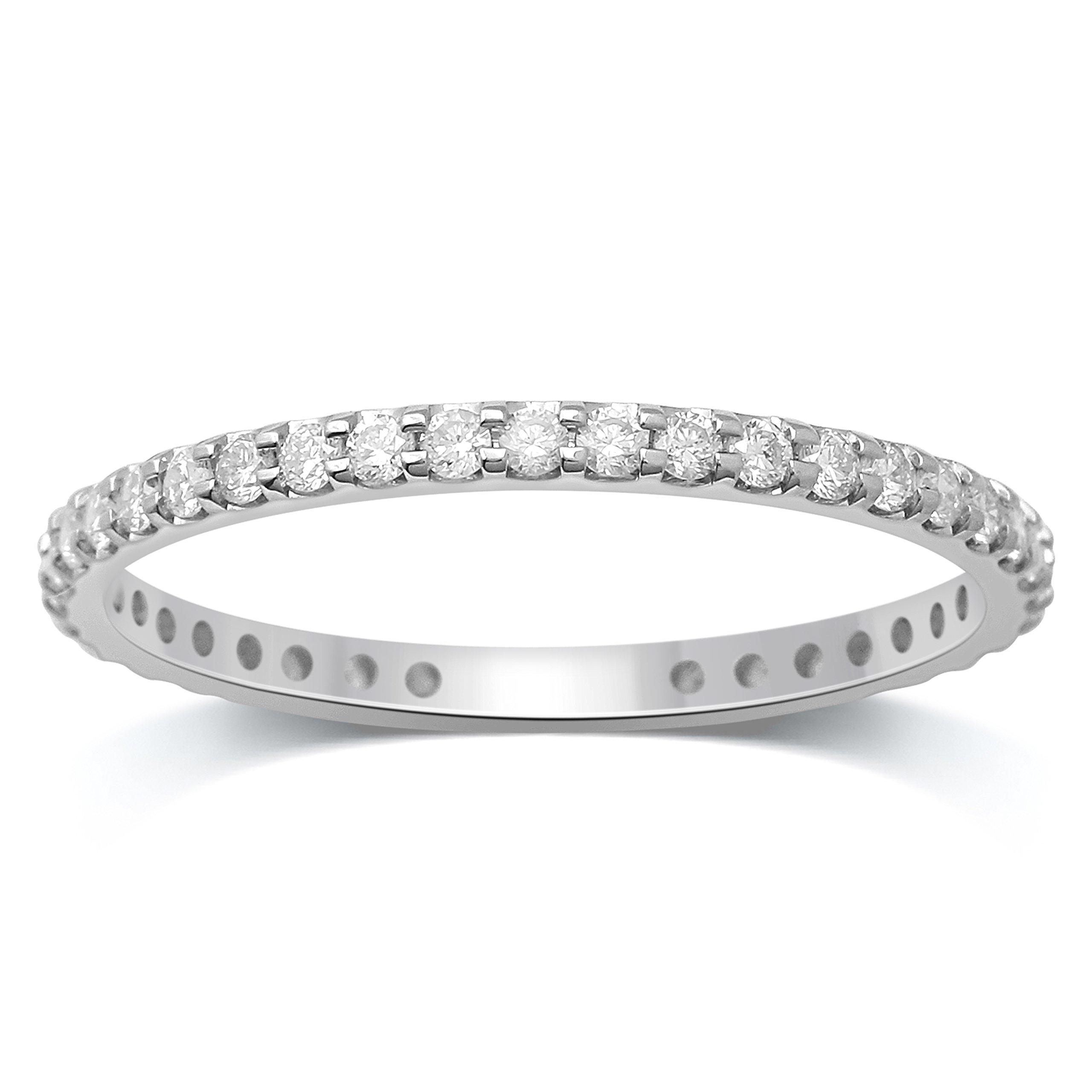 Diamond Jewel 14K White Gold 1/2 cttw Diamond (H-I Color, I1 Clarity) Prong Set Eternity Band