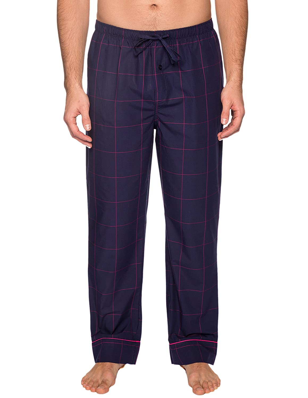 Pantalon Pijama de Puro 100% Algodón para Hombre - Cuadros Azul/Rojo - M: Amazon.es: Ropa y accesorios