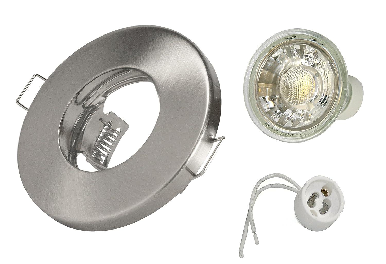 3W Set Einbaustrahler IP65 Optik: Edelstahl gebürstet - Bad, Dusche, Vordach inkl. GU10 3Watt Glas LED Leuchtmittel 2700Kelvin (warmweiß) 270Lumen (Leuchtmittel austauschbar) Einbauleuchten [Energieklasse A+] Jungeslicht IP65-3Watt-ER