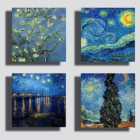 Quadri Moderni VAN GOGH 4 pezzi notte stellata mandorlo Stampa Tela CANVAS  Arredamento Arte Astratto XXL Arredo per soggiorno salotto camera da letto  ...