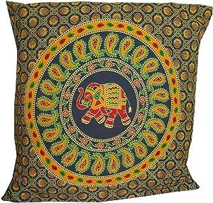 "Indian Orange & Blue Elephant Mandala Throw Ethnic Tribal Vintage, Decorative Pillow Cushion Cover, Inspired Motifs Flourishing Nature Ornate Curves and Swirls, Square Accent Pillow Case 16 X 16"""