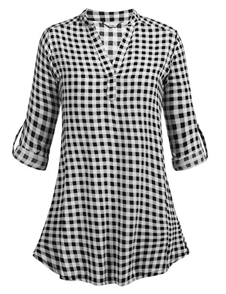 Elesol Women's Casual Check Plaid Long Sleeve Flannel Shirts Top Blouse for  Spring Autumn Winter,