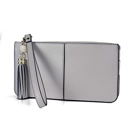 pretty nice 55388 17267 Befen Soft Leather Wristlet Phone Wallet, Clutch Wristlet with Exquisite  Tassels/Wrist Strap - Fit iPhone 6 Plus/Samsung Note 5 - Gray