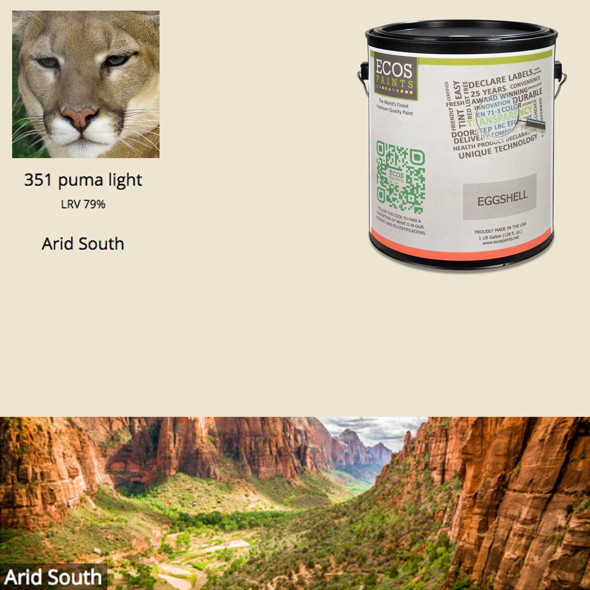ECOS Paints 00817292025365 Interior Semi-Gloss Residential Paint, 1 quart, 351 Puma Light