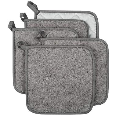 Lifaith 100% Cotton Kitchen Everyday Basic Terry Pot Holder Heat Resistant Coaster Potholder Cooking Baking Set of 5 Grey