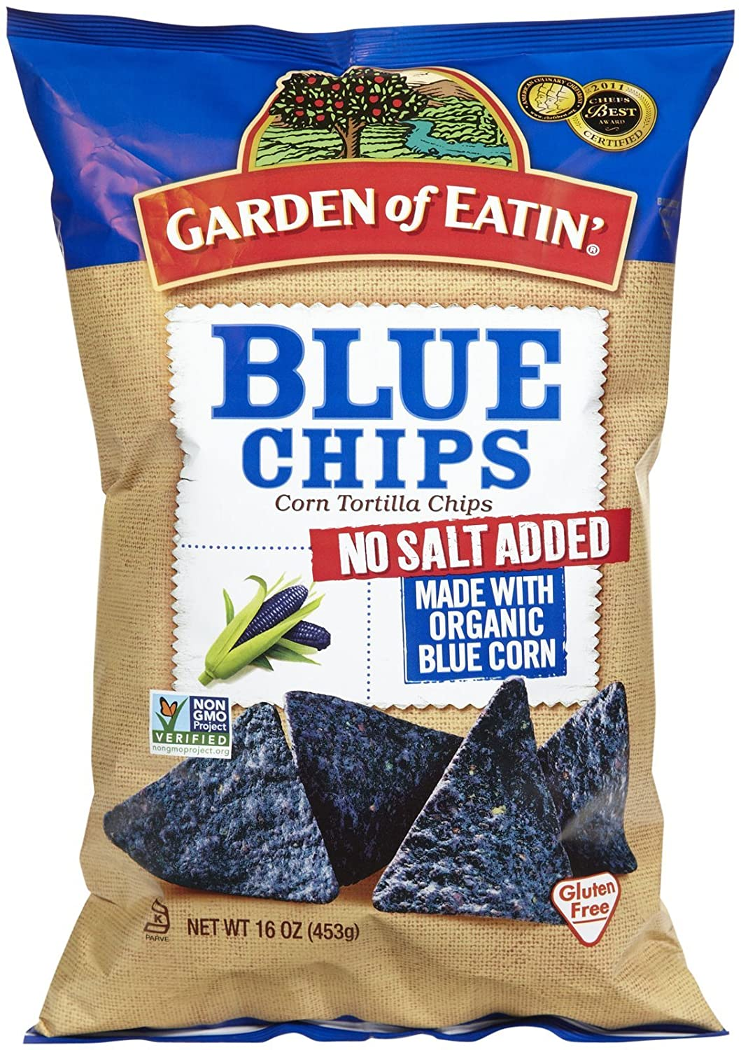 GARDEN OF EATIN Blue Party Chips With No Salt, 16 OZ