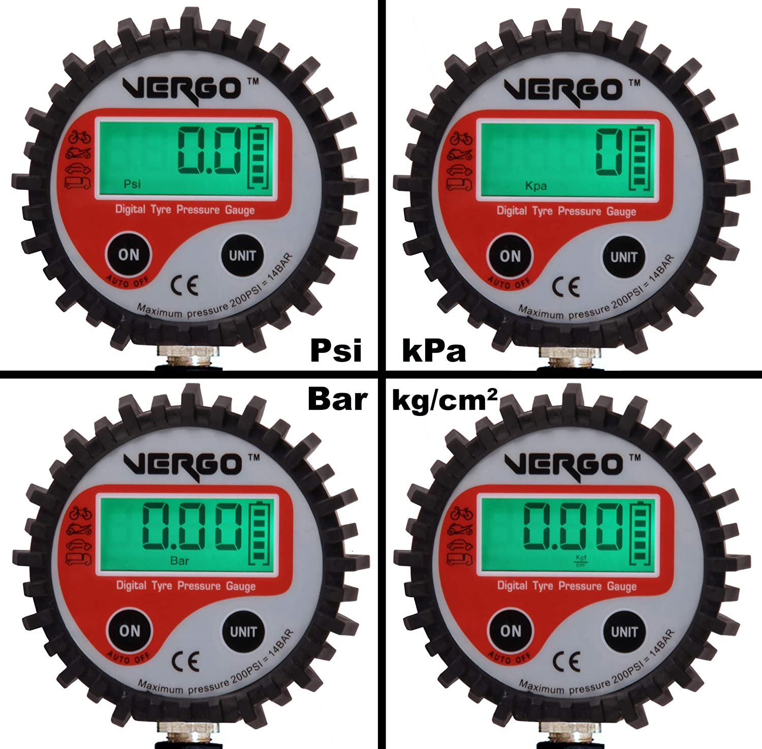 Flexible Hose SUVs Motorcycle Trucks /Backlit LCD 4/Units Cars /200psi//200/PSI//3/in 1/Multifunction Device/ VERGO Digital Tyre Inflator Pressure Gauge/ with Schrader Valves Bicycle