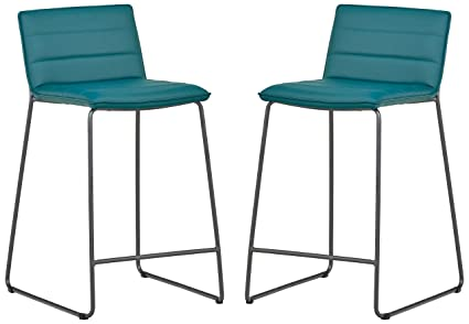 Awesome Rivet Julian Minimalist Modern Tufted Dining Room Counter Height Bar Stools Set Of 2 34 3 Inch Height Synthetic Leather Aqua Blue Machost Co Dining Chair Design Ideas Machostcouk