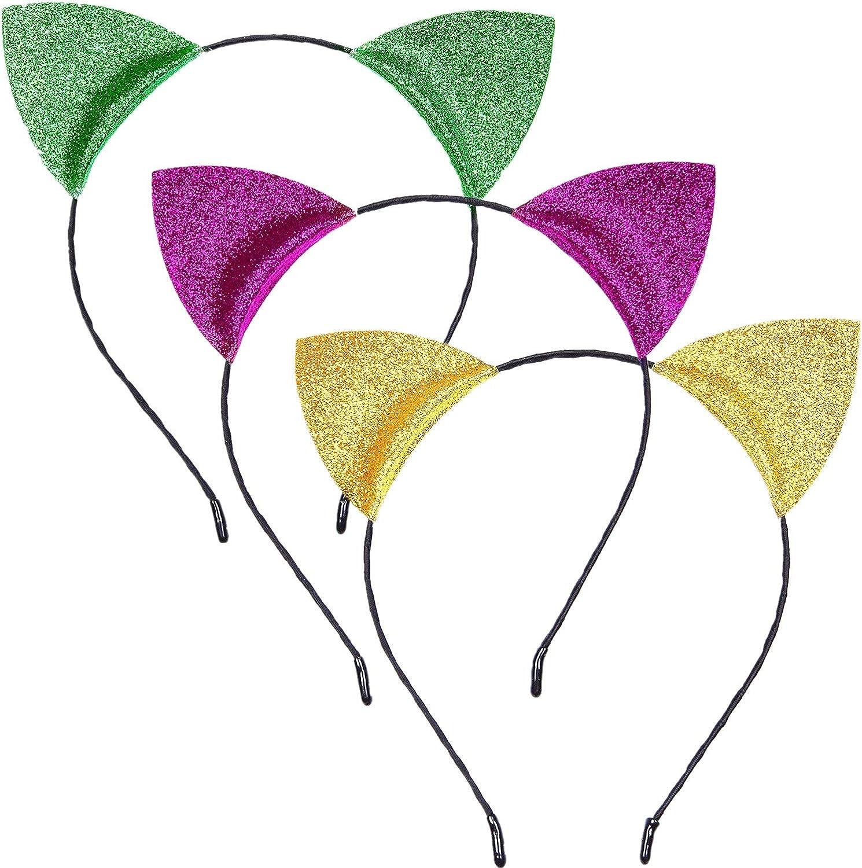 Cute Cat Ears Headbands Glitter Mardi Gras Headband Gold Purple Green Hair Headwear Bands for Costume Daily Wearing Party Decorations
