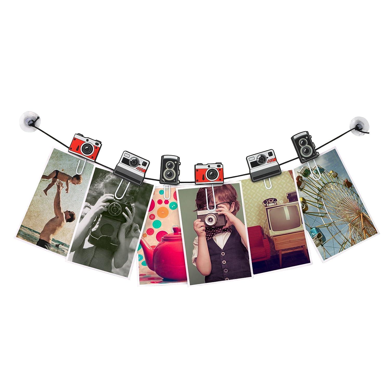 Clipit Flamingo Picture Hanger I Photo and Postcard Memo Hanger String I Elastic Photo Hanging String I Photo Clips String I Metal-Clips I Set incl MUSTARD 6 Clips//Elastic String//2 Plastic Sucker
